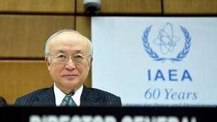 یوکیا آمانو دبیرکل آژانس بینالمللی انرژی اتمی پیش از جلسهی هیأت مدیران در وین – ۱۷ نوامبر ۲۰۱۷
