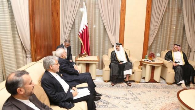 ملاقات شیخ تمیم بن حماد الثانی و محمدجواد ظریف از ایران، در اوج تنشهای خلیج فارس