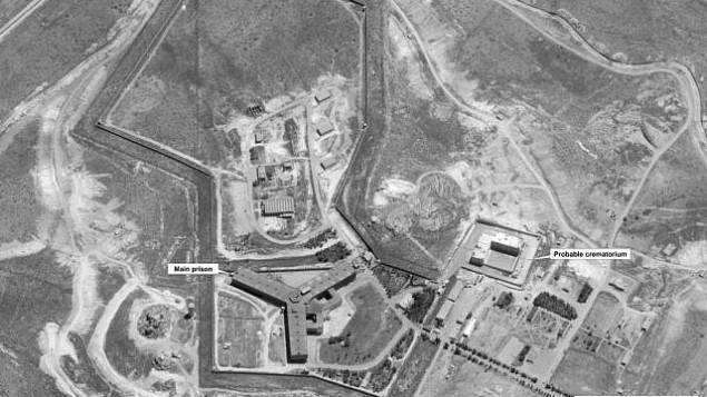توضیح تصویر: تصویر ماهوارهای وزارت خارجه که گفته میشود از مجتمع زندانی در سوریه که در آن کورهای نیز تعبیه شده است – ۱۸ آوریل ۲۰۱۷