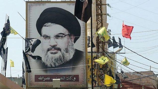 توضیح تصویر: تصویر حسن نصرالله رهبر گروه تروریستی حزبالله در روستای ادشید در جنوب لبنان، ۵ نوامبر ۲۰۱۷