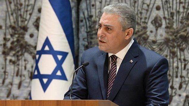 توضیح تصویر: هاضم خیرات سفیر مصر در اسرائیل حین سخنرانی در اقامتگاه ریاست جمهوری در اورشلیم – ۲۲ نوامبر ۲۰۱۷