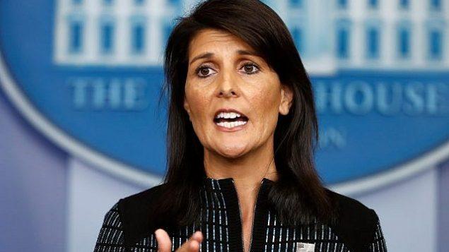 نیکی هیلی سفیر ایالات متحده در سازمان ملل، حین گزارش در کاخ سفید،واشنگتن