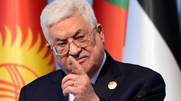 توضیح تصویر: محمود عباس رئیس تشکیلات خودگردان فلسطینی، پس از کنفرانس سازمان همکاریهای اسلامی هفتهی گذشته در استانبول، حین صحبت در کنفرانس خبری، در مورد شناسایی اورشلیم به پایتختی اسرائیل که هفتهی گذشته سوی ایالات متحده صورت گرفت – ۱۳ دسامبر ۲۰۱۷