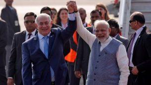 نارندرا مودی، نخستوزیر هند به همراه بنیامین نتانیاهو، نخستوزیر اسرائیل