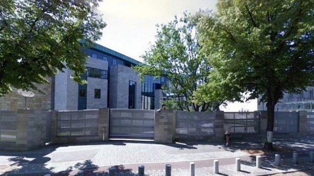 توضیح تصویر: منظرهی بنای سفارت اسرائیل در برلین، آلمان
