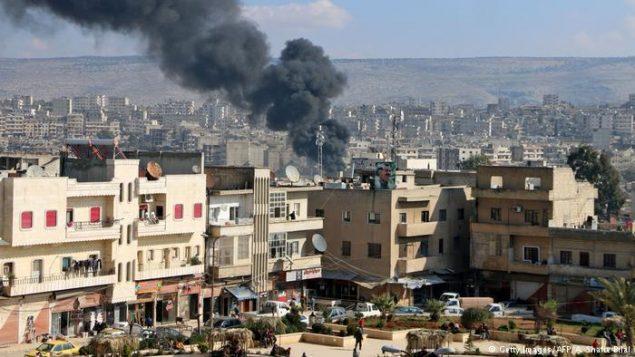 صحنه ای از بمباران عفرین