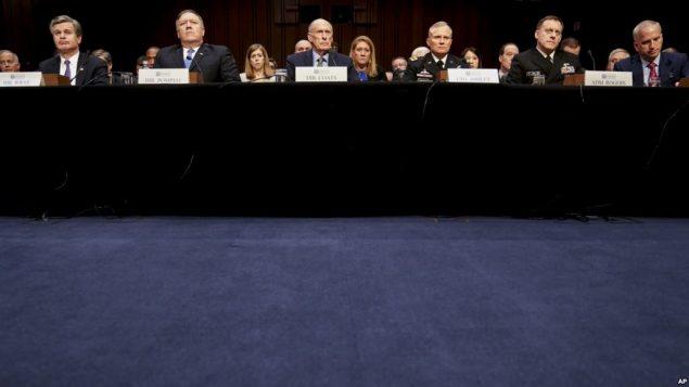 نشست کمیته اطلاعات سنا برای بررسی تهدیدهای جهانی علیه امنیت ملی ایالات متحده - ۲۴ بهمن ۱۳۹۶ - منبع صدای آمریکا