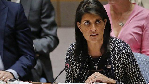 توضیح تصویر: نیکی هیلی سفیر ایالات متحده در سازمان ملل، حین سخنرانی در جلسهی شورای امنیت سازمان ملل . (AP Photo/Bebeto Matthews, File)