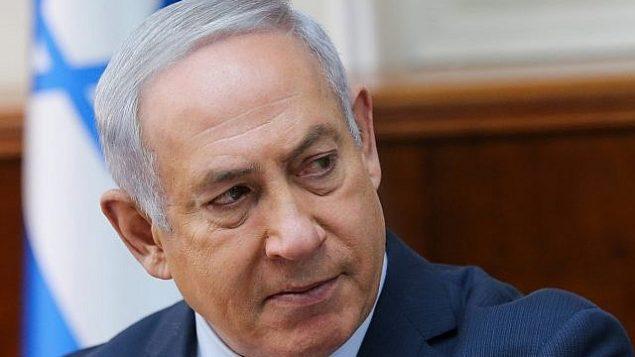 بنیامین نتانیاهو نخست وزیر در جلسهی کابینه در دفتر نخست وزیری در اورشلیم، ۲۱ ژانویه ۲۰۱۸.  (Alex Kolomoisky/Pool)