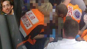 توضیح تصویر: پاراپزشکان تیم امداد مگان دیوید آدوم حین رسیدگی به ایتامار بنـ گال (عکس الحاقی)، که در تهاجم تروریستی به شهرک آریل در کرانهی باختری به ضرب چاقو کشته شد، ۵ فوریه ۲۰۱۸. (MDA spokesperson)