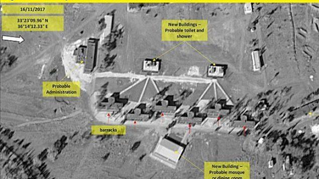 توضیح تصویر: تصاویر کمپانی ایمجسات اینترنشنال از آنچه گمان میرود پایگاه ایرانی در سوریه، نزدیک به مرز سوریه و اسرائیل باشد، ۱۶ نوامبر ۲۰۱۷. (Hadashot news screenshot)