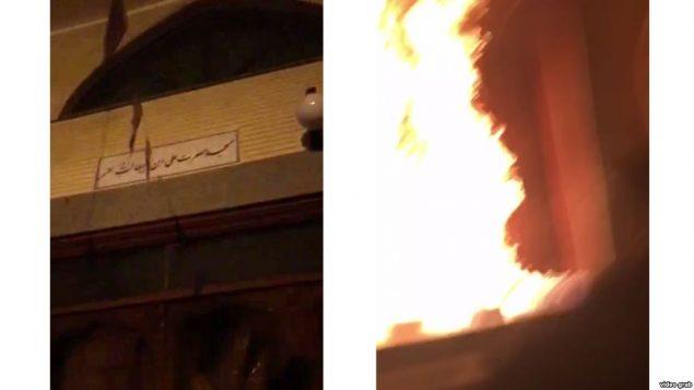 صحنه ای از حریق در یکی از مساجد حکومتی در ایران