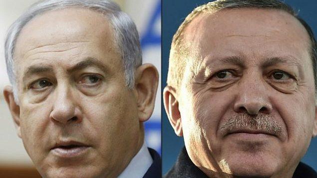 توضیح تصویر: بنیامین نتانیاهو نخست وزیر، چپ، و رجب طیب اردوغان در ترکیبی از عکسهایی که در ۱ آوریل ۲۰۱۸ درست شدند. (RONEN ZVULUN AND OZAN KOSE/AFP)