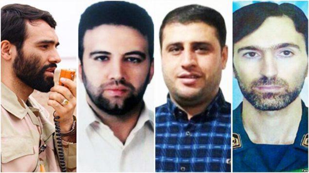 کشتههای ایرانی حمله به یک پایگاه هوایی در حمص سوریه (از چپ به راست): مهدی لطفی نیاسر، اکبر زوار جنتی، عماسر موسوی و مهدی دهقانی