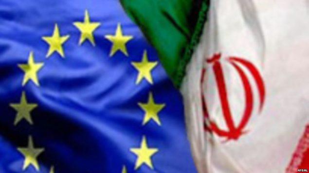 دو پرچم ایران و اتحادیه اروپایی