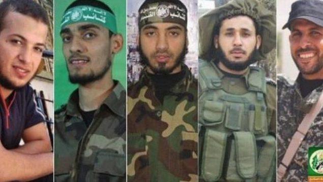 توضیح تصویر: حاکمان تروریست غزهای حماس این تصاویر را از اعضای شاخهی نظامی خود، که طبق اذعان ایشان در میان  ۱۶ تن کشتهشدگان اهل غزه در درگیری روز جمعه، پای حصار امنیتی بودهاند را منتشر کرد، جمعه ۳۰ مارس ۲۰۱۸