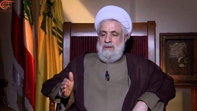 توضیح تصویر: شیخ نعیم قاسم، نایب رهبر حزبالله در مصاحبهای با تلویزیون المیادین لبنان، ۱۶ آوریل ۲۰۱۸.  (Screen capture: YouTube)