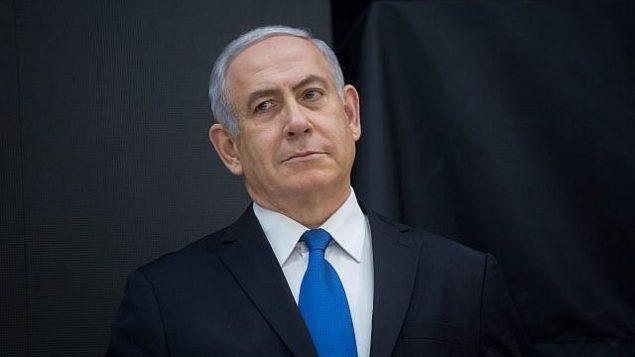 توضیح تصویر: بنیامین نتانیاهو نخست وزیر حین گفتگو با خبرنگاران در مقر دولتی تل آویو، ۳۰ آوریل ۲۰۱۸.  (Miriam Alster/Flash90)