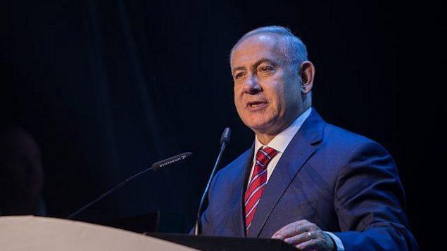 توضیح تصویر: بنیامین نتانیاهو نخست وزیر حین گفتگو در کنفرانسی با وزرای علوم از سراسر جهان در اورشلیم، ۲۸ مه ۲۰۱۸. (Yonatan Sindel/Flash90)