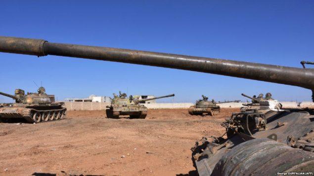 تانکهای ارتش سوریه در نزدیکی حلب