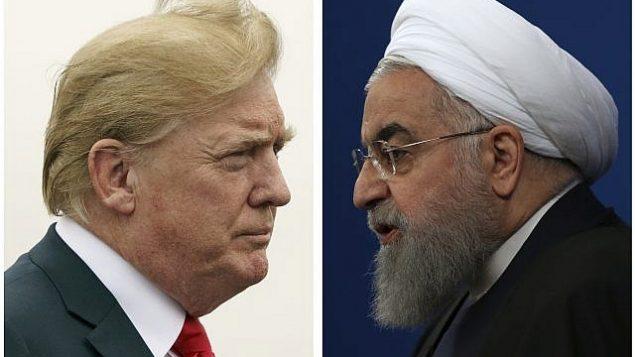 توضیح تصویر: در دو عکسی که کنار هم قرار گرفته اند، دونالد ترامپ رئیس جمهور ایالات متحده، چپ، در 22 ژوئن 2018، و حسن روحانی رئیس جمهور ایران در 6 فوریه 2018 دیده می شوند.  (AP Photo)