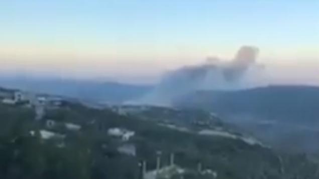 توضیح تصویر: عکس ویدئو صحنه پس از حمله هوایی اسرائیل به تاسیسات پژوهشی ناحیه میصف در شمال غربی سوریه را نشان می دهد، 22 ژوئن 2018. (Screen capture: Twitter)