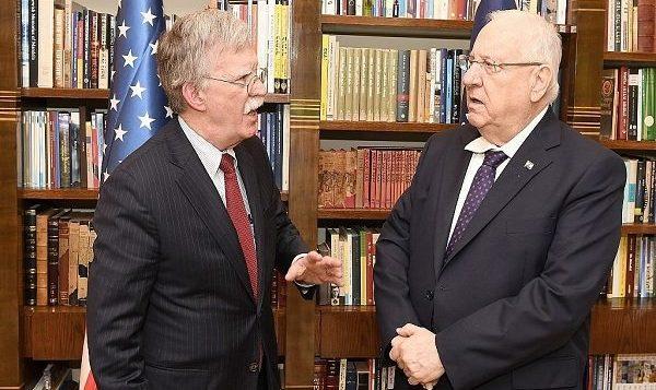 جان بولتون مشاور امنیت ملی ایالات متحده با روئن ریولین رئیس جمهور اسرائیل