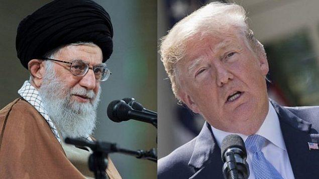 توضیح تصویر: علی خامنه ای ولی فقیه در تهران، چپ، دونالد ترامپ رئیس جمهور ایالات متحده در کاخ سفید. (Office of the Iranian Supreme Leader via AP, AFP PHOTO / JIM WATSON)