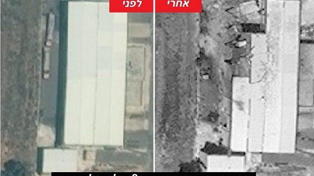 توضیح تصویر: تصاویری از پیش و پس از حمله، که 11 اوت در وبسایت اینتلی تایمز اسرائیل منتشر شد، ابعاد انهدام تاسیسات راکتی سوریه در میصف را نشان می دهد. (Photo by Intelli Times)