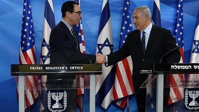 تصویر: استیو مانچین وزیر دارایی ایالات متحده در ملاقات با بنیامین نتانیاهو نخست وزیر در اورشلیم، ۲۱ اکتبر ۲۰۱۸. ( Matty Stern/US Embassy Jerusalem)