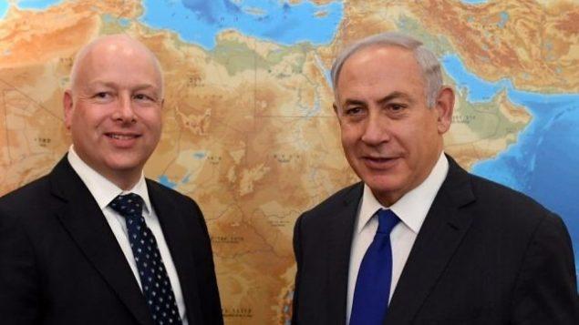 تصویر: جیسون گرینبلات دستیار رئیس جمهور، و سفیر ویژه مذاکرات بین المللی، چپ، در ملاقات با بنیامین نتانیاهو نخست وزیر در دفتر نخست وزیر در اورشلیم، ۲۰ ژوئن ۲۰۱۷. (Kobi Gideon/GPO)