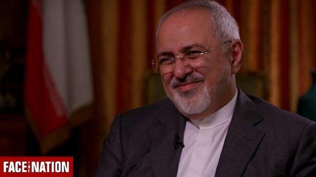 تصویر: محمدجواد ظریف وزیر خارجه ایران حین گفتگو در برنامه «رو در روی ملت» سی بی اس، ۳۰ سپتامبر ۲۰۱۸. (Screen capture: CBS News)