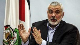 تصویر: اسمائیل هنیه رهبر حماس حین سخنرانی در شهر غزه، ۲۳ ژانویه ۲۰۱۸.  (AFP Photo/Mahmud Hams)