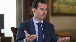 تصویر: بشار اسد رئیس جمهور سوریه حین مصاحبه با اسوشیتد پرس در کاخ ریاست جمهوری در دمشق، سوریه، سپتامبر ۲۰۱۶. (Syrian Presidency via AP)