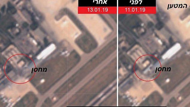 تصاویر ماهواره ای که در ۱۳ ژانویه ۲۰۱۹ منتشر شدند انبار تسلیحات منتسب به ایران در فرودگاه بین المللی دمشق در سوریه، راست، در ۱۱ ژانویه، و نیز همان بنا را در ۱۳ ژانویه پس از حمله هوایی اسرائیل نشان می دهد.  (Intelli Times)