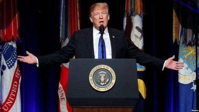 پرزیدنت دونالد ترامپ در جریان سخنرانی در وزارت دفاع