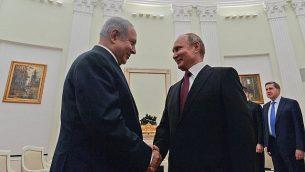 تصویر: بنیامین نتانیاهو نخست وزیر در ملاقات با ولادیمیر پوتین رئیس جمهور روسیه در مسکو، ۱۱ ژوئیه ۲۰۱۸. (Kobi Gideon/GPO/Flash90)
