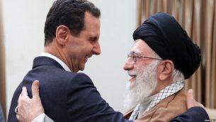 بشار اسد، رئیس جمهوری سوریه، در سفر به تهران با علی خامنهای، رهبر جمهوری اسلامی دیدار کرد
