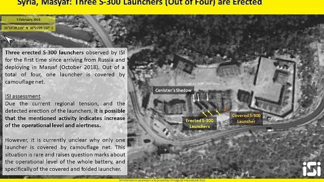 تصویر: تصاویر ماهواره ای ایمج-سات اینترنشنال سه فروند از چهار موشک پرتابگر سامانه پدافند اس۳۰۰ را در ۵ فوریه ۲۰۱۹ در وضعیت افراشته در میصف نشان می دهد. (ImageSat International)