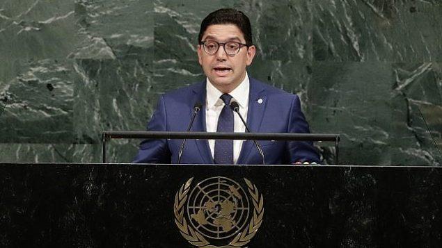 تصویر: ناصر بوریتا وزیر خارجه مراکش، چهارشنبه ۲۰ سپتامبر ۲۰۱۷، حین سخنرانی در مجمع عمومی سازمان ملل، مقر سازمان ملل. (AP Photo/ Frank Franklin II)