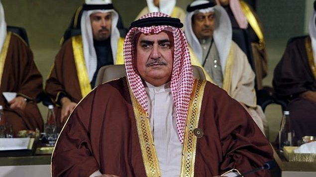 خالد بن احمد آل خلیفه وزیر خارجه بحرین در نشست توسعه اقتصادی و اجتماعی کشورهای عربی در بیروت، لبنان، یکشنبه، ۲۰ ژانویه ۲۰۱۹. (AP Photo/Bilal Hussein)