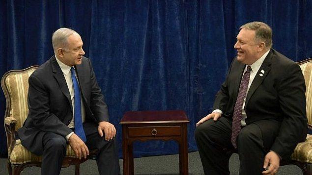 تصویر: بنیامین نتانیاهو نخست وزیر، چپ، و مایک پمپئو وزیر خارجه ایالات متحده در کنفرانس صلح و امنیت خاورمیانه در ورشو، ۱۴ فوریه ۲۰۱۹ ملاقات کردند. (Amos Ben Gershom/GPO)