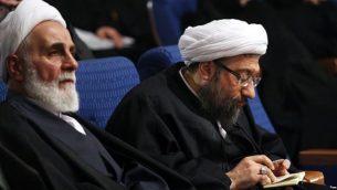 صادق لاریجانی (سمت راست) و علیاکبر ناطق نوری