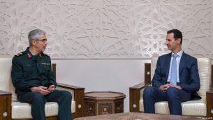 پاسدار محمد حسین باقری، رئیس ستاد کل نیروهای مسلح رژیم ایران، با بشار اسد دیدار کرد