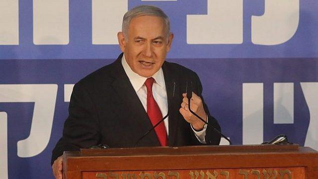 تصویر: بنیامین نتانیاهو نخست وزیر حین ایراد بیانیه خطاب به رسانه ها در اقامتگاه ریاست جمهوری در اورشلیم، ۲۸ فوریه ۲۰۱۹. (Yonatan Sindel/Flash90)