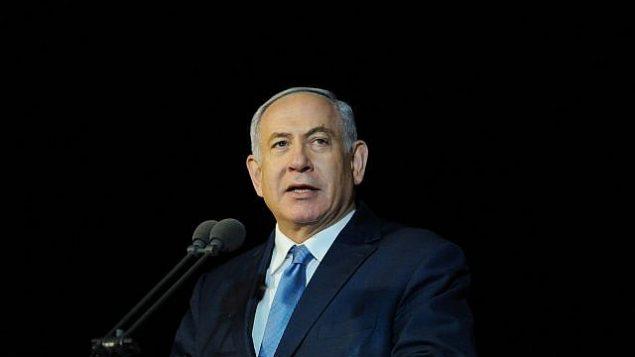 تصویر: بنیامین نتانیاهو نخست وزیر حین گفتگو در مراسم فارغ التحصیلی دانشجویان نیروی دریایی اسرائيل در حیفا، ۶ مارس ۲۰۱۹. (Meir Vaknin/Flash90)