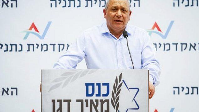 تصویر: گادی آیزنکوت رئیس ستاد پیشین نیروی دفاعی حین سخنرانی در کنفرانسی در نتانیا، ۱۸ مارس ۲۰۱۹.  (Flash90)