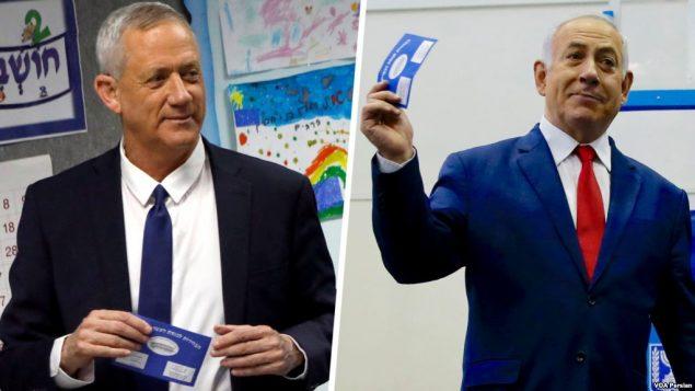 بنی گنتز (چپ) و بنیامین نتانیاهو