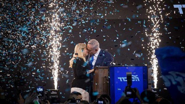 تصویر: بنیامین نتانیاهو نخست وزیردر  پی اعلام نتایج انتخابات عمومی اسرائیل در مراسم «لیکود» در تل آویو، صبحگاه ۱۰ آوریل ۲۰۱۹. (Yonatan Sindel/Flash90)