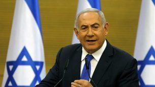 تصویر: بنیامین نتانیاهو نخست وزیر حین سخنرانی در کنست، ۲۷ مه ۲۰۱۹.  (MENAHEM KAHANA / AFP)
